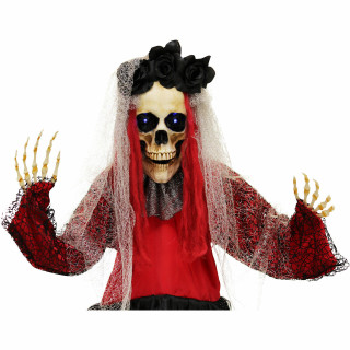Haunted Hill Farm Haunted Hill Farm 5-Ft Animatronic Voodoo Lady, Indoor/Covered Outdoor Halloween Decoration, Red LED Eyes, Poseable, Battery-Operated, Martina, HHBRIDE-4FLS