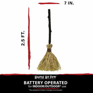Haunted Hill Farm Haunted Hill Farm 2.5-Ft Witchs Broomstick with Music, Movement, Battery Operated, Indoor/Covered Outdoor Halloween Decorations, HHBROOM-2SA