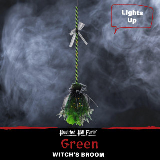 Haunted Hill Farm Haunted Hill Farm 3-Ft Green Witchs Broomstick with Green Lights, Battery Operated, Indoor/Covered Outdoor Halloween Decorations, HHBROOM-3LS