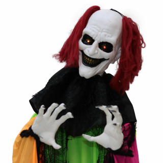 Haunted Hill Farm Haunted Hill Farm 5.8-Ft Animatronic Clown, Indoor/Covered Outdoor Halloween Decoration, Red LED Eyes, Poseable, Battery-Operated, Spike, HHCLOWN-17FLSA
