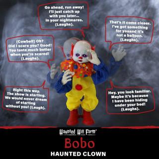 Haunted Hill Farm Haunted Hill Farm 2-ft Animatronic Clown, Indoor/Outdoor Halloween Decoration, Red LED Eyes, Battery-Operated, Bobo, HHCLOWN-19FLSA