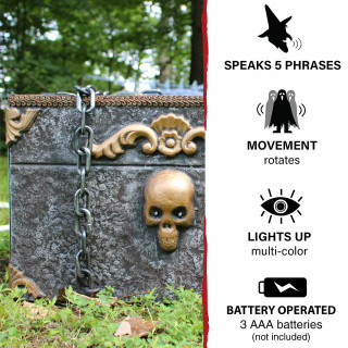 Haunted Hill Farm Haunted Hill Farm 13-in Animated, Rotating Pirate Box, Indoor/Covered Outdoor Halloween Decoration, Multi-Colored LED Lights, Battery-Operated, HHDCHST-1LSA
