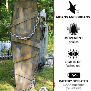Haunted Hill Farm Haunted Hill Farm 5-ft Animated, Shaking Coffin, Indoor Halloween Decoration, Red LED Lights, Battery-Operated, HHDCOFF-1LSA