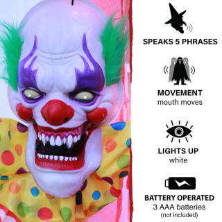 Haunted Hill Farm Haunted Hill Farm 1.3-ft Animated Clown, Talks, Battery Operated Halloween Decoration for Indoor/Covered Outdoor Display, HHDHCLOWN-2LSA