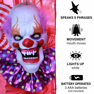Haunted Hill Farm Haunted Hill Farm 1.3-ft Animated Clown, Talks, Battery Operated Halloween Decoration for Indoor/Covered Outdoor Display, HHDHCLOWN-3LSA