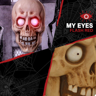 Haunted Hill Farm Haunted Hill Farm 2-ft Animated Mummy Head Halloween Decoration, Glowing Red Eyes, Battery Operated, Indoor/Covered Outdoor, HHDHSKULL-1LS