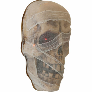 Haunted Hill Farm Haunted Hill Farm 2-ft Animated Mummy Head Halloween Decoration, Glowing Red Eyes, Battery Operated, Indoor/Covered Outdoor, HHDHSKULL-2LS