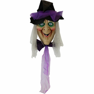 Haunted Hill Farm Haunted Hill Farm 4.2-Ft Animatronic Witch Head, Talks, Battery Operated Halloween Decoration for Indoor/Covered Outdoor Display, HHDHWITCH-1LS