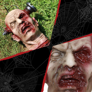 Haunted Hill Farm Haunted Hill Farm 10.5-In Zombie Head Halloween Decoration for Indoor and Outdoor Display, HHDHZOMB-1