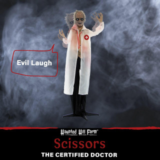 Haunted Hill Farm Haunted Hill Farm 5.4-Ft Animatronic Doctor, Indoor/Covered Outdoor Halloween Decoration, Red LED Eyes, Laughing, Doctor Scissors, HHDOC-1FLSA