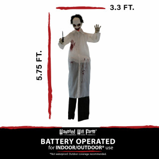 Haunted Hill Farm Haunted Hill Farm 5.75-Ft Animatronic Doctor, Indoor/Covered Outdoor Halloween Decoration, Red LED Eyes, Laughing, Snips, HHDOC-3FLSA
