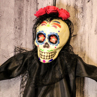 Haunted Hill Farm Haunted Hill Farm 32-in Off-White Sugar-Skull Inspired Day of the Dead Decorative Skeleton with Blue, Red, and Yellow Accents, HHDODBRD-1H