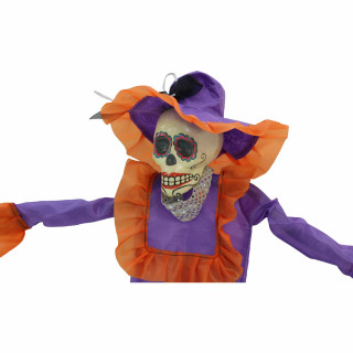 Haunted Hill Farm Haunted Hill Farm 36-in Off-White Sugar-Skull Inspired Day of the Dead Decorative Skeleton with Purple, Orange, and Silver Accents, HHDODBRD-2H