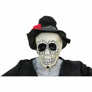Haunted Hill Farm Haunted Hill Farm 32-in Off-White Sugar-Skull Inspired Day of the Dead Decorative Skeleton with Black and Red Accents, HHDODGRM-1H