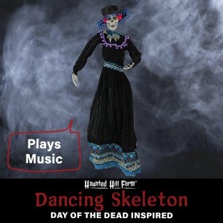 Haunted Hill Farm Haunted Hill Farm 36-in Off-White Sugar-Skull Inspired Day of the Dead Decorative Skeleton with Dancing, Flashing Red Eyes, and Music, HHDODLADY-1HLSA