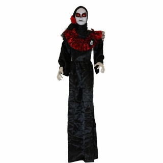 Haunted Hill Farm Haunted Hill Farm 5-ft White Sugar-Skull Inspired Day of the Dead Animatronic Skeleton with Flashing Red Eyes and Sounds, Maria, HHDODLADY-2FLS