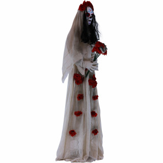 Haunted Hill Farm Haunted Hill Farm 5.5-ft White Sugar-Skull Inspired Day of the Dead Animatronic Skeleton Bride with Flashing Red Eyes and Sounds, Carolina, HHDODLADY-3FLS