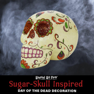 Haunted Hill Farm Haunted Hill Farm 5.5-in Off-White Sugar-Skull Inspired Day of the Dead Decorative Skull with Orange, Purple, and Green Accents, HHDODSKL-1S