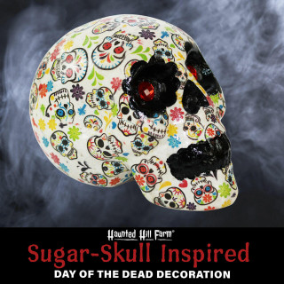 Haunted Hill Farm Haunted Hill Farm 5.5-in Off-White Sugar-Skull Inspired Day of the Dead Decorative Skull with Blue, Black, Pink, Red and Green Accents, HHDODSKL-2S