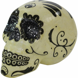 Haunted Hill Farm Haunted Hill Farm 5.5-in Off-White Sugar-Skull Inspired Day of the Dead Decorative Skull with Black and Silver accents, HHDODSKL-3S