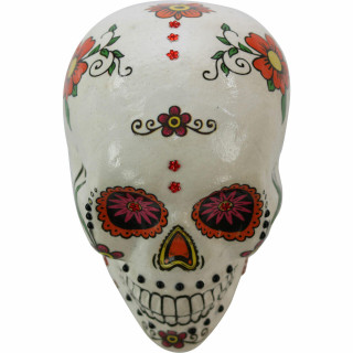 Haunted Hill Farm Haunted Hill Farm 5.5-in White Sugar-Skull Inspired Day of the Dead Decorative Skull with Yellow, Pink, and Orange accents, HHDODSKL-4S