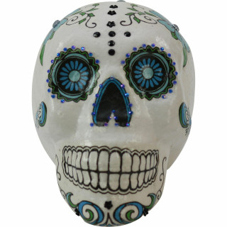 Haunted Hill Farm Haunted Hill Farm 5.5-in White Sugar-Skull Inspired Day of the Dead Decorative Skull with Black and Blue accents, HHDODSKL-6S