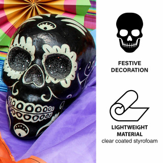 Haunted Hill Farm Haunted Hill Farm 5.5-in Black Sugar-Skull Inspired Day of the Dead Decorative Skull with White Accents and Silver Glitter, HHDODSKL-7S