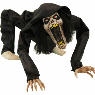 Haunted Hill Farm Haunted Hill Farm 3.7-ft Animatronic Zombie, Indoor/Covered Outdoor Halloween Decoration, Red LED Eyes, Poseable, Battery-Operated, Banshee, HHDOG-1FLSA