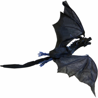Haunted Hill Farm Haunted Hill Farm 3.83-ft Animated Dragon, Indoor/Covered Outdoor Halloween Decoration, Red LED Eyes, Poseable, Battery-Operated, Dragoon, HHDRG-1HLSA