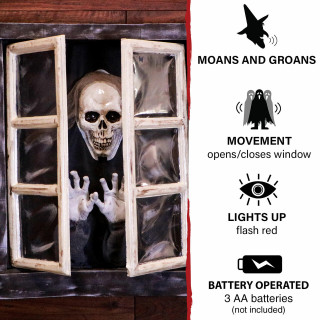Haunted Hill Farm Haunted Hill Farm 2.8-ft Animated Window with Skeleton, Indoor/Covered Outdoor Halloween Decoration, Flashing Red Eyes, Battery-Operated, HHDWNDW-1LSA