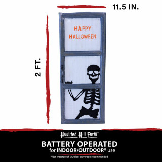 Haunted Hill Farm Haunted Hill Farm 2.25-ft Skeleton Behind Window Light-Up, Indoor/Covered Outdoor Halloween Decoration, Battery-Operated, HHDWNDW-2S
