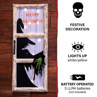 Haunted Hill Farm Haunted Hill Farm 2.25-ft Evil Witch in Window Light-Up, Indoor/Covered Outdoor Halloween Decoration, White LED, Battery-Operated, HHDWNDW-3LS