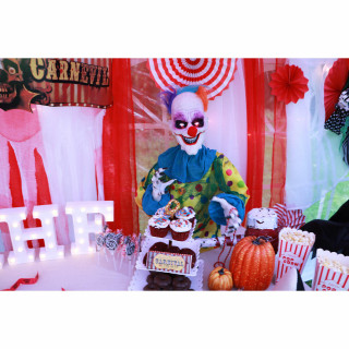 Haunted Hill Farm Haunted Hill Farm 2-ft Animated Clown, Indoor/Covered Outdoor Halloween Decoration, LED Eyes, Poseable, Battery-Operated, Blade, HHFJCLOWN-4LSA