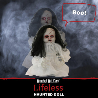 Haunted Hill Farm Haunted Hill Farm 2-ft Haunted Jumping Doll, Indoor/Covered Outdoor Halloween Decoration, Red LED Eyes, Poseable, Battery-Operated, Lifeless, HHFJDOLL-1LSA