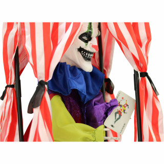 Haunted Hill Farm Haunted Hill Farm 1.6-ft Hanging Clown in Box, Indoor/Covered Outdoor Halloween Decoration, Red LED Eyes, Poseable, Battery-Operated, Crimson, HHFTCL-3HLSA