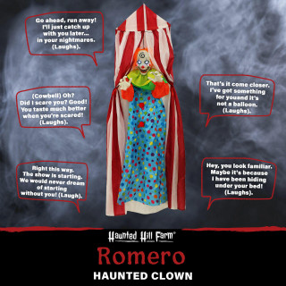 Haunted Hill Farm Haunted Hill Farm 6 ft Hanging Clown, Indoor/Covered Outdoor Halloween Decoration, LED Blue Eyes, Poseable, Battery-Operated, Romero, HHFTCL-4HLS