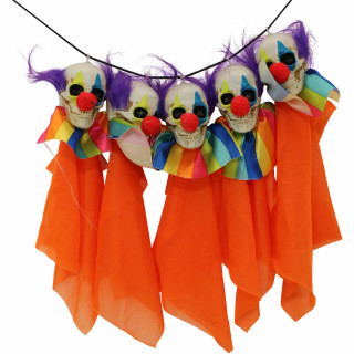 Haunted Hill Farm Haunted Hill Farm 4.92-ft Clown Garland, Indoor/Covered Outdoor Halloween Decoration, HHGARCLW-1