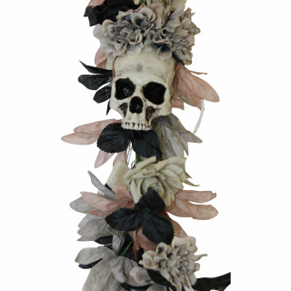 Haunted Hill Farm Haunted Hill Farm 6-ft Gothic Skull Garland with White Flowers, Halloween Decoration, HHGARSKL-2