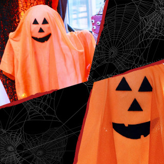 Haunted Hill Farm Haunted Hill Farm 1.3-ft Orange Light-Up Ghost, White LED, Indoor/Covered Outdoor Halloween Decoration, Kid-Friendly, Battery-Operated, HHGHST-2STKL