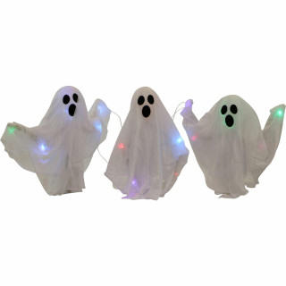 Haunted Hill Farm Haunted Hill Farm 5-ft Wide Ghosts Set of 3 With Stakes, Indoor/Covered Outdoor Halloween Decoration, Multi LED, Poseable, Battery-Operated, HHGHST-3STKL