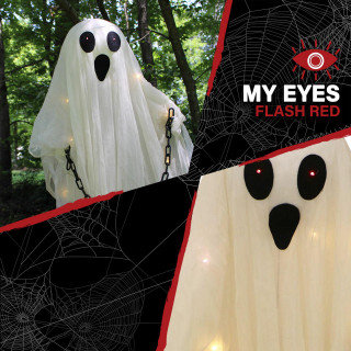Haunted Hill Farm Haunted Hill Farm 5-ft Animatronic Ghost, Indoor/Outdoor Halloween Decoration, Red LED Eyes, Poseable, Battery-Operated, Hyde, HHGHST-6FLS