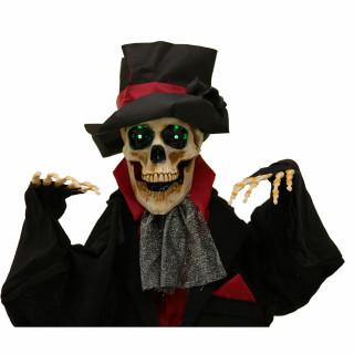 Haunted Hill Farm Haunted Hill Farm 5.4-ft Animatronic Skeleton Groom, Indoor/Outdoor Halloween Decoration, Green LED Eyes, Poseable, Battery-Operated, Johnny, HHGRM-2FLSA