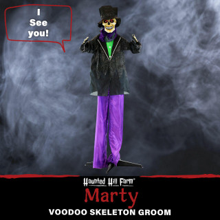 Haunted Hill Farm Haunted Hill Farm 5.4-ft Animatronic Skeleton Groom, Indoor/Outdoor Halloween Decoration, Red LED Eyes, Poseable, Battery-Operated, Marty, HHGRM-3FS