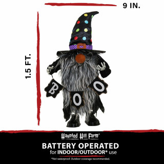 Haunted Hill Farm Haunted Hill Farm 1.3-ft Musical Walking Chuzzle Elf with Banner, Indoor/Outdoor Halloween Decoration, Battery-Operated, Gnomad, HHMNELF-1FSA