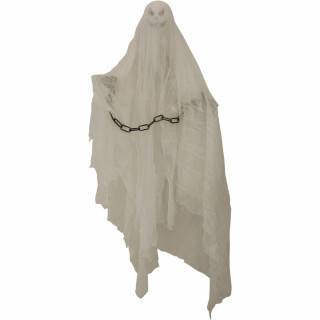 Haunted Hill Farm Haunted Hill Farm 2.7-ft Animatronic Hanging Ghost, Indoor/Outdoor Halloween Decoration, Red LED Eyes, Poseable, Battery-Operated, Norman, HHMNGHST-2HLSA