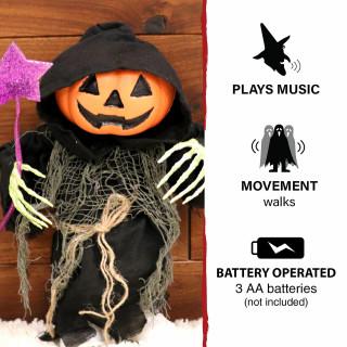 Haunted Hill Farm Haunted Hill Farm 1.1-ft Musical Walking Pumpkin Reaper, Indoor/Outdoor Halloween Decoration, Battery-Operated, Ruckus, HHMNPUMP-2FSA