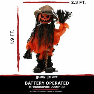 Haunted Hill Farm Haunted Hill Farm 1.9-ft Animatronic Pumpkin Scarecrow, Indoor/Outdoor Halloween Decoration, Red LED Eyes, Poseable, Battery-Operated, Burton, HHMNPUMP-3FLSA