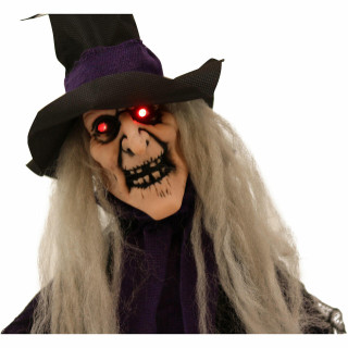 Haunted Hill Farm Haunted Hill Farm 2.25-ft Animatronic Witch, Indoor/Outdoor Halloween Decoration, Red LED Eyes, Poseable, Battery-Operated, Hazel, HHMNWTC-1FLSA