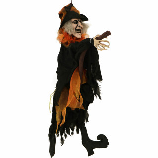 Haunted Hill Farm Haunted Hill Farm 2.5-ft Animatronic Hanging Witch, Indoor/Outdoor Halloween Decoration, Red LED Eyes, Poseable, Battery-Operated, Ophelia, HHMNWTC-2HLSA