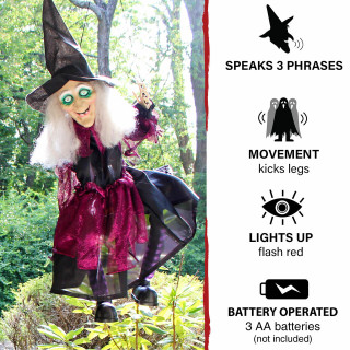 Haunted Hill Farm Haunted Hill Farm 2.1-ft Animatronic Swinging Witch, Indoor/Outdoor Halloween Decoration, Red LED Eyes, Poseable, Battery-Operated, Samara, HHMNWTC-5HLS